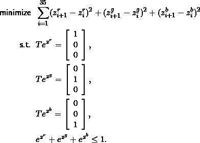 \[\begin{split}\mathsf{minimize}\;\;&\sum_{i=1}^{35} (z^r_{i+1} - z^r_i)^2 + (z^g_{i+1} - z^g_i)^2 + (z^b_{i+1} - z^b_i)^2 \\ \mathsf{s.t.}\;\;&T e^{z^r} = \left[ \begin{array}{c} 1 \\ 0 \\ 0 \end{array} \right], \\ &T e^{z^g} = \left[ \begin{array}{c} 0 \\ 1 \\ 0 \end{array} \right], \\ &T e^{z^b} = \left[ \begin{array}{c} 0 \\ 0 \\ 1 \end{array} \right], \\  &e^{z^r} + e^{z^g} + e^{z^b} \le 1. \end{split}\]